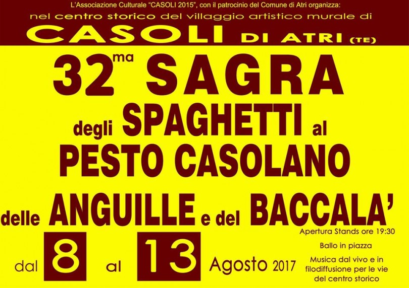 Sagra-degli-Spaghetti-al-Pesto-Casolano-delle-Anguille-e-del-Baccalà-Casoli-di-Atri-Dal-8-al-13-agosto-2017